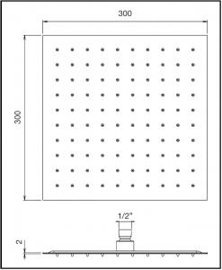 Soffione doccia quadrato 300x300