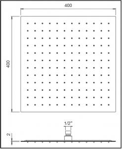 Soffione doccia quadrato 400x400