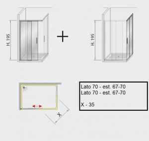 Box doccia angolare scorrevole 70 X 70