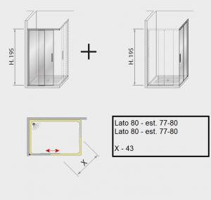 Box doccia angolare scorrevole 80 X 80
