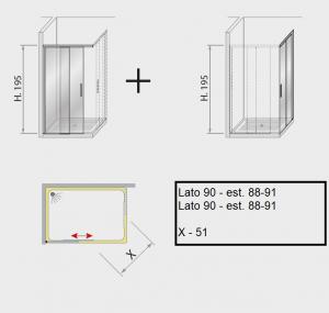 Box doccia angolare scorrevole 90 X 90