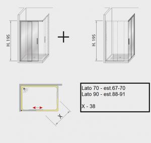 Box doccia angolare scorrevole 90 x 70