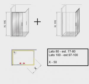 Box doccia angolare scorrevole 100 x 80