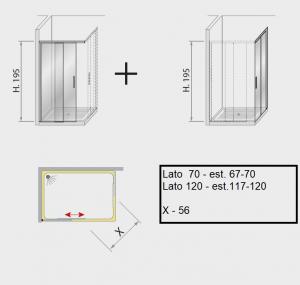 Box doccia angolare scorrevole 120 x 70