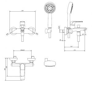 Miscelatore vasca esterno Magic Touch, con dotazione doccia