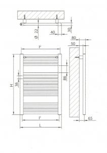 Radiatore scaldasalviette bianco 450x750
