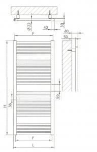 Radiatore scaldasalviette bianco 600x1150