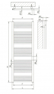 Radiatore scaldasalviette bianco 600x1400