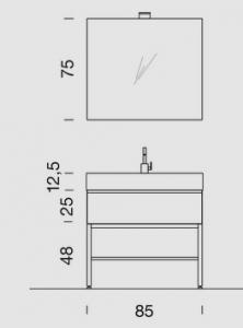 Mobile con struttura in alluminio, lavabo in ceramica  L.85  P.46,5