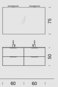 Mobile con 4 cassetti , consolle ceramica con 2 lavabi  L.121  P.46,5