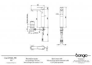 BONGIO Pi7 MISCELATORE LAVABO CON PROLUNGA 150mm