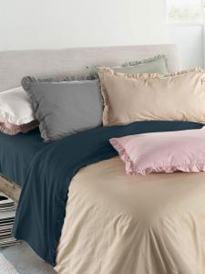 Set Completo Lenzuola con Fodera per Cuscino 50x80, in 100% Cotone Stone Wash con galetta Tessuto Anallergico | Galetta