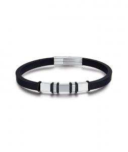 Luca Barra - bracciale uomo silicone & acciaio