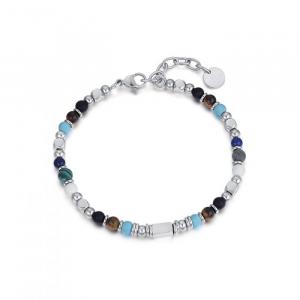 Luca Barra - Bracciale UOMO in acciaio con pietre multicolor