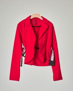 Giacca rossa senza bottoni con cintura con scritta logo 10-16 anni