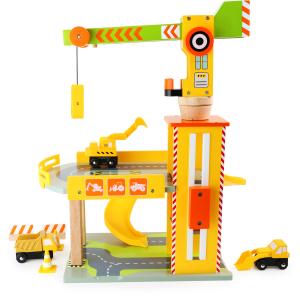 Parcheggio per veicoli giocattolo con cantiere