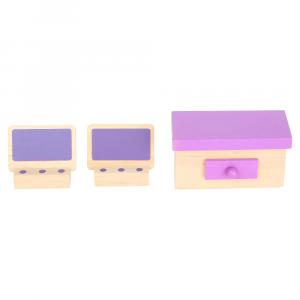 Casa delle bambole in legno con tetto smontabile
