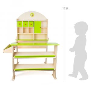 Bancarella Mercatino giocattolo in legno Giorno di mercato