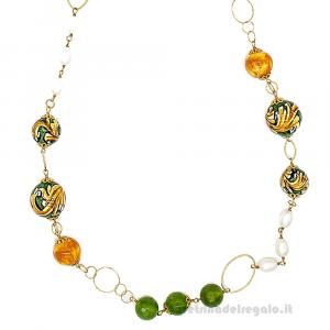 Collana con perle di fiume e agata verde con sfere in ceramica di Caltagirone - Gioielli Siciliani