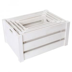 Cassette di legno Natura colore bianco set 4 pezzi