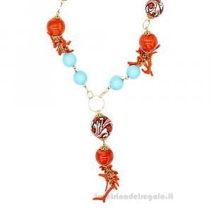 Collana con pasta di turchese e sfere corallo in ceramica di Caltagirone - Gioielli Siciliani