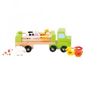 Camion trasportatore di animali con rimorchio gioco in legno
