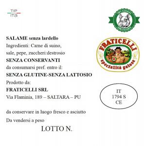 Salame senza Lardelli Naturale - 500gr