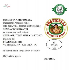 Pancetta Naturale arrotolata - 500gr/1Kg