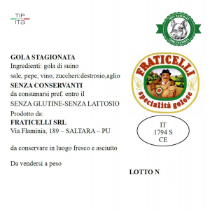 Guanciale Naturale - Senza Conservanti - 750gr/1,2Kg/2.3Kg