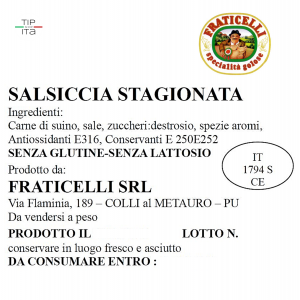 Salsicce Stagionate - 500/1000gr