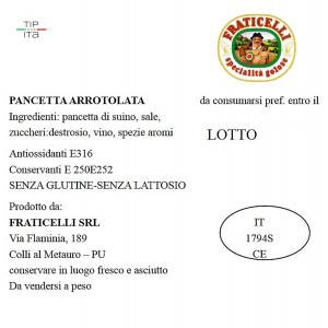 Pancetta artigianale Arrotolata - 500/1000gr