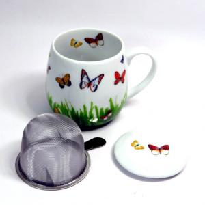 Tazza in porcellana con filtro e coperchio decoro farfalle