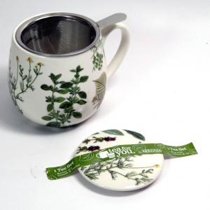 Tazza in porcellana con filtro e coperchio decoro botanico