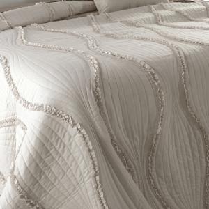 Copriletto in microfibra Estiva Matrimoniale 260x260 cm con eleganti decorazioni, Made in Italy| Rouge