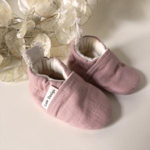 Scarpine neonato in lino biologico Rosa