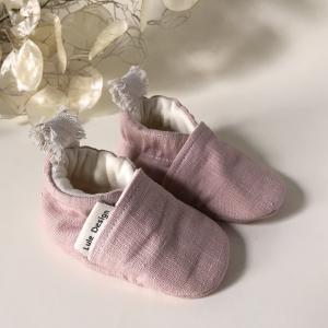 Scarpine neonato in lino biologico Rosa Cipria