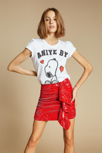 SHOPPING ON LINE ANIEY BY T-SHIRT ROUCHES SNOOPY NEW COLLECTION WOMEN'S SPRING SUMMER 2020