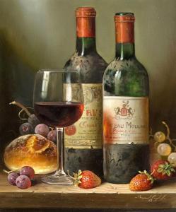 2 Wine bottles - Stampa su tela