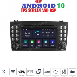 ANDROID 10 autoradio 2 DIN navigatore per Mercedes Benz Classe SLK R171, Mercedes W171 GPS DVD WI-FI Bluetooth MirrorLink