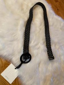 Cintura Vicolo in pelle intrecciata con Fibbia Rotonda