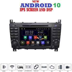 ANDROID 10 autoradio 2 DIN navigatore per Mercedes classe C W203 C220 C230 C240 C280 Mercedes classe CLK W209 CLK200 CLK220 CLK 240 Mercedes classe CLC W203 W467 A209 W219 GPS DVD WI-FI Bluetooth MirrorLink