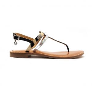 Sandalo nero/animalier Gardini