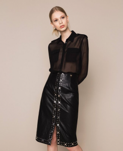 SHOPPING ON LINE TWINSET MILANO GONNA IN SIMILPELLE CON BORCHIE NEW COLLECTION WOMEN'S SPRING SUMMER 2020