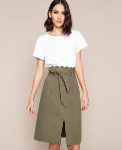 SHOPPING ON LINE TWINSET MILANO GONNA IN CANVAS CON RICAMO IN SAN GALLO NEW COLLECTION WOMEN'S SPRING SUMMER 2020
