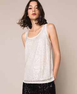 SHOPPING ON LINE TWINSET MILANO TOP FULL PAILLETTES NEW COLLECTION WOMEN'S SPRING SUMMER 2020