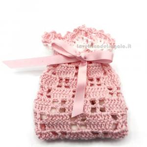 Portaconfetti rosa o celeste ad uncinetto  7x11 cm - Sacchetti battesimo