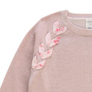 Pullover Bambina in cotone rosa pallido e lurex Carrément Beau