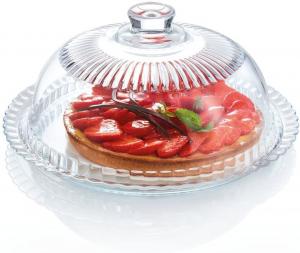 Piatto dolce in vetro con campana cm.17h diam.33