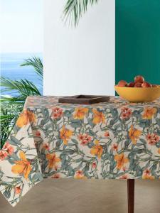 Tovaglia Antimacchia Impermeabile in Cotone 100% NATURALE, Design con Fiori Decorazione della Tavola da Pranzo | IRIS