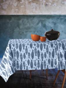 Tovaglia Antimacchia Impermeabile in Cotone 100% NATURALE, Design con Pesci Decorazione della Tavola da Pranzo | PESCI